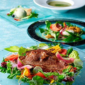 【一休限定】農薬不使用・産地直送のお野菜たっぷり「とうきょうサラダ」&肉or魚が選べるメイン