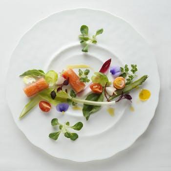 【彩り豊かな野菜フレンチ】旬の野菜を盛り込んだ前菜、スープ、選べるメイン&野菜のパフェ全4品5,187円
