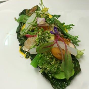 【平日限定食前酒付き Menu A】銀座に佇む隠れ家レストランで、旬の食材を使用した全4品