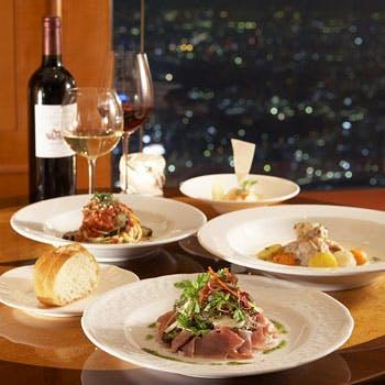 【窓席確約】きらめく夜景とともに!前菜、魚料理、肉料理、デザートなど全4品コース「プレシャス」!