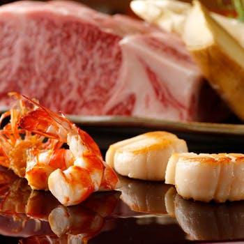 【ようこそ瀬里奈コース】新鮮な車海老や帆立貝、サーロインステーキががお楽しみ頂けるコース