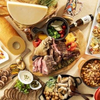 【選べる1ドリンク付】ライブ感溢れるオープンキッチンと季節替わりのブッフェメニューをお好きなだけ!