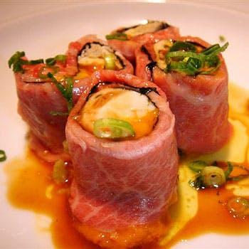 牡蠣と牛肉のステーキくり抜き牡蠣フライコース