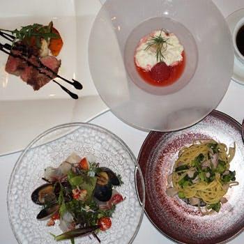 【春のおすすめ】メインのお料理や本格パスタはお好きなものを!組み合わせて楽しむ全4品!