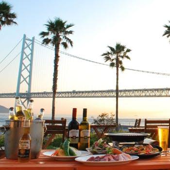 【絶景BBQビアガーデン/フリードリンク付】サンセットと明石海峡大橋を目前に臨む特等席で!