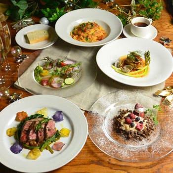 【Xmas2017】乾杯スプマンテ付!前菜やパスタ、選べるメインにドルチェまで!鮮やかな食材を愉しむ全4品