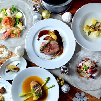 【Xmas2017】乾杯スパークリング&飲み放題付!魚介の前菜盛合せや真鯛とイベリコ豚のWメインなど全6品