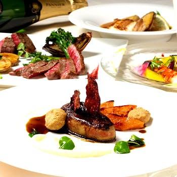 【厳選スパークリング付】銀座に佇む一軒家レストラン!フォアグラ料理や黒毛和牛含むWメインなど全6品