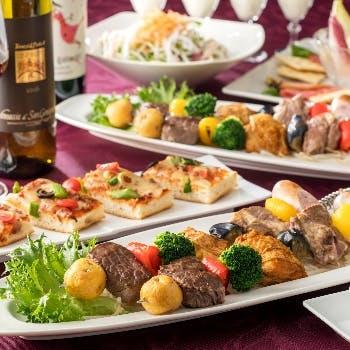 【日・月・火・祝日限定】飲み放題付&4種類のお肉と彩り野菜のブロシェットなど種類豊富なお料理をご堪能