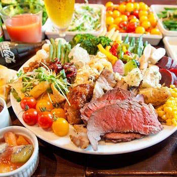【休日】シュラスコ食べ放題とビュッフェ&フリーソフトドリンクの盛りだくさんプラン!!