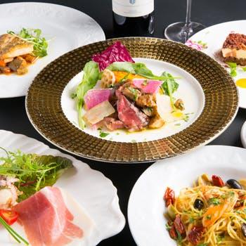 【乾杯スパークリング付】アワビのパスタ・鮮魚料理・特選黒毛和牛フィレ・特製デザートなど豪華全6品