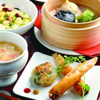 【點心&ダックコース】五種の点心・北京ダック・選べる麺・デザートの全4品+1ドリンク!特別料金2,500円