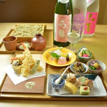 春の味覚の彩り八寸に天ぷらや旬魚造りがついた、春酒と共に自家製蕎麦を愉しむ春季特別ランチ【春彩】