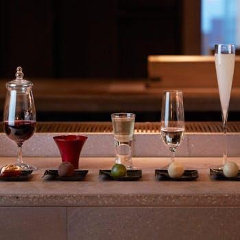 【和菓子のお土産付】5種類の和菓子と5種類のカクテルとのペアリングコース〜酒果〜