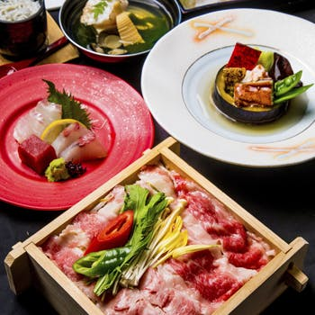 【季節懐石×秋涼】日本三大和牛滋賀県 近江牛と秋の食材を堪能 乾杯シャンパン付き