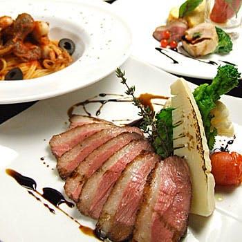 【シェフ自慢の逸品を】 飲み放題付!前菜7種盛合せ、パスタ、お肉料理、自家製ドルチェなど全5品を堪能