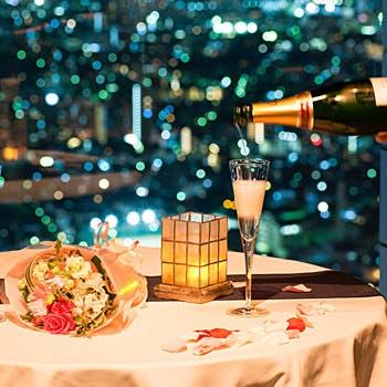 【窓際確約×ロゼワインハーフボトル付】サンシャイン59階からの夜景と共にホールケーキ付ディナー全6品!