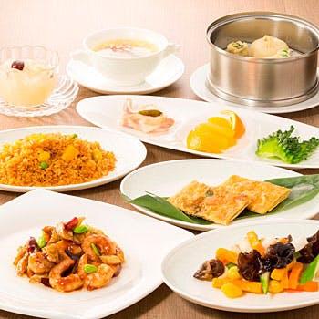 【お勧め飲茶ランチ】前菜の盛合せ+蒸し物盛合せ+炒飯+デザートなど全7品 ホテルで味わう絶品中華