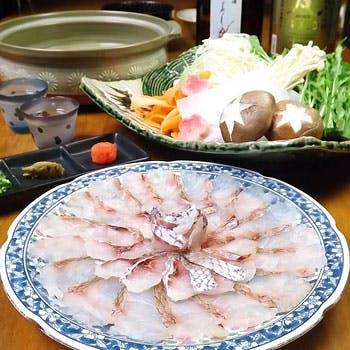 【天然桜鯛しゃぶしゃぶ】2,5時間飲み放題付!旬食材の天ぷら・桜鯛しゃぶしゃぶなど贅沢な全7品