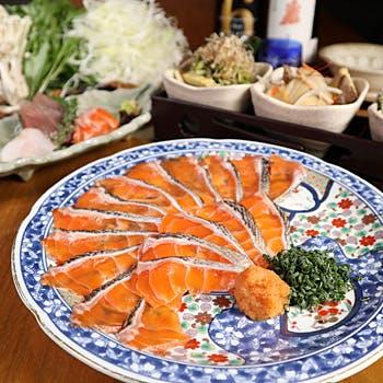 【スパーク含む2.5時間飲み放題】刺身三点盛り合せや季節天ぷらなど<紅富士サーモンしゃぶしゃぶコース>