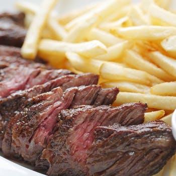 肉とポテトフライ