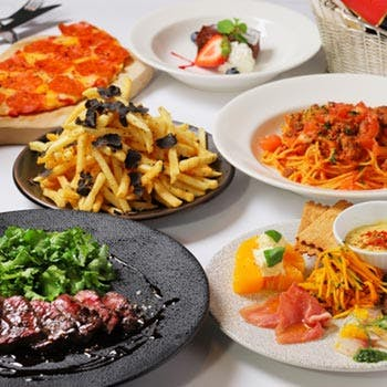 【歓送迎会に】2時間半飲み放題!牛ハラミステーキや前菜6種盛,ペパロニチーズピザ,パスタ等充実全6品