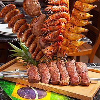 【忘年会】【飲み放題付】和牛、熟成肉含む16種類シュラスコやブラジル料理約50種ブッフェ付