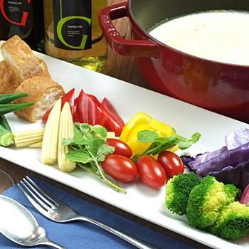【フリードリンク付】前菜8種、15種から選べるピッツァ、季節のパスタ、チーズフォンデュなど全5品!