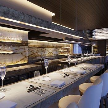 【乾杯シャンパン・お土産付】NY最高峰シェフのフルコースランチを満喫!お魚もお肉も堪能できる贅沢全7品