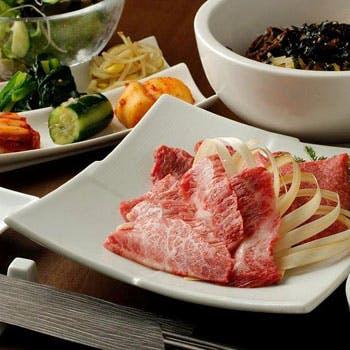 【本格焼肉を楽しむ】上タン塩、和牛カルビに和牛ロース!お食事は野菜クッパかビビンバから選べる全10品