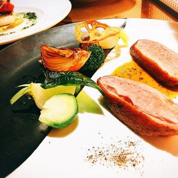 【乾杯シャンパン&デザートプレート付】高級食材を堪能!フォアグラ、愛媛県産真鯛、鴨胸肉のロースト等
