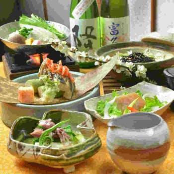 【一休限定】旬の魚介と季節の味覚野菜を堪能する和の会席料理7品に店長お勧め酒一杯つけて5400円