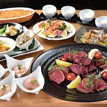 【大皿宴会プラン】2時間飲み放題付き!宮崎牛ステーキの贅沢大皿宴会プラン全7品