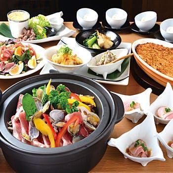 【大皿宴会プラン】2時間飲み放題付き!宮崎県産おいも豚の土鍋蒸しと宮崎牛の大皿コース全7品