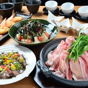 【大皿宴会プラン】2時間飲み放題付!宮崎県産おいも豚の鉄鍋焼きと宮崎牛の大皿全7品コース