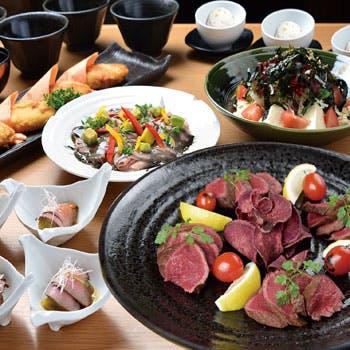 【大皿宴会プラン】2時間飲み放題付!宮崎牛ステーキと宮崎県産おいも豚の大皿全7品コース