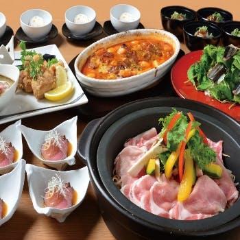 【大皿宴会プラン】2時間飲み放題付!宮崎県産おいも豚の土鍋蒸しと宮崎牛の大皿全7品コース