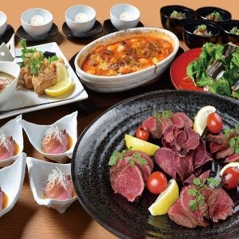 【大皿宴会プラン】2時間飲み放題付!宮崎牛ステーキの贅沢大皿宴会プラン全7品コース