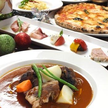 【平日限定】スパークリング付!京都人気のエリア鴨川沿いでお肉&お魚のWメイン、デザート全5品!
