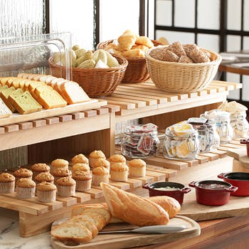 【朝食】ホテルブッフェ!バターを使わないオムレツがお勧めヘルシーモーニングブッフェ!