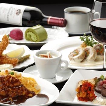 【一休限定】乾杯スパークリング&2時間飲み放題付前菜、揚物、魚&肉料理、オムライス、デザートなど全6品