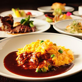 【乾杯スパークリング+カフェ付】ハンバーグステーキなど人気の洋食&お食事が選べる全6品