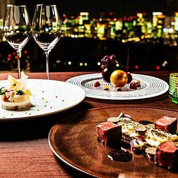 【スパークリング含む2杯付き】最上階36階の贅沢な空間で!フォアグラ・魚料理・肉料理など全6品