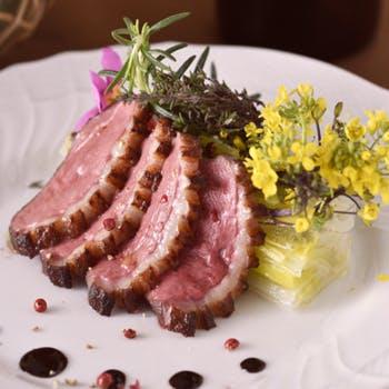【選べるグラスワイン】フォアグラ鴨フィレ肉の備長炭火焼含むWメインの野菜たっぷりスペシャルコース