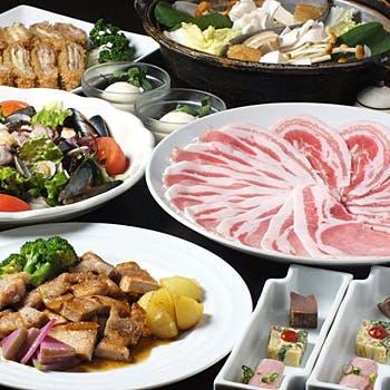 【お昼時のご宴会に】2時間飲み放題付&お鍋付、お鍋なし選べる!やまと豚をご堪能いただける全7品