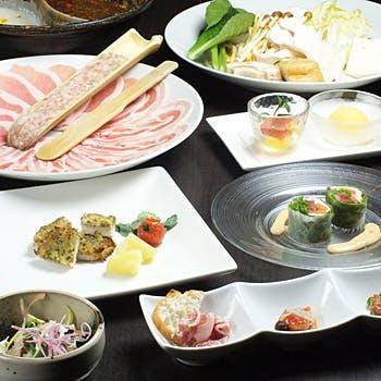 【店長おすすめ×乾杯ドリンク付】ランドマーク限定コース 厳選したやまと豚と旬菜を使った充実ディナー!