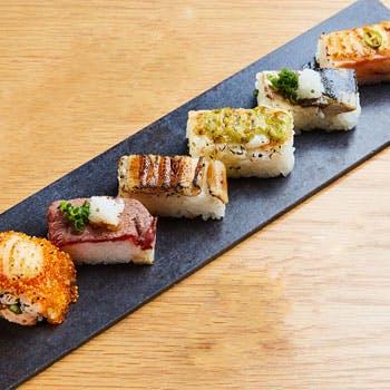 【ランチ限定】当店自慢の炙り寿司6貫、小鉢2種、あら汁、デザート、コーヒー 気軽に寿司ランチを!