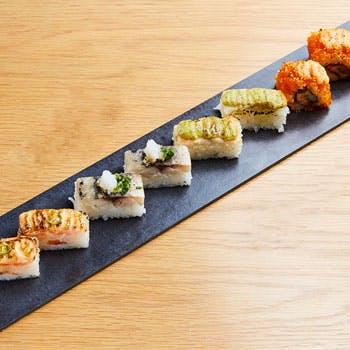 【ランチ限定】名物炙り寿司8貫、、小鉢、あら汁、デザート、食後のカフェなど手軽なランチセット!