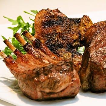 【煉瓦コース プランA】前菜盛合せ4〜5種・温菜・お肉のWメイン(和牛イチボ+α)・デザート・食後のDrink