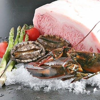 【ランチ限定グラスシャンパン付!】人気 No1ディナーコース。旬の魚介と常陸牛の「極 KIWAMI 」コース